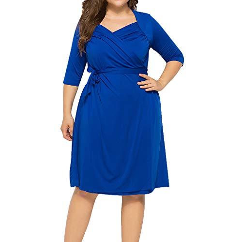 Nadition Summer Plus Size Dress Women's Cross V-Neck Elegant Wrap Dress Fashion Pure Color Waistband Pleat Dress Blue