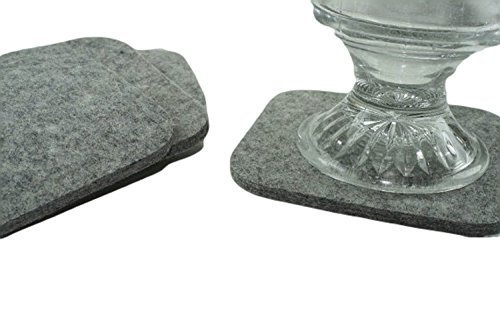 Reversible Grey Square Drink and Beverage Coaster Set in 5mm Thick Merino Wool Felt