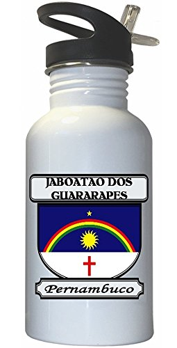 jaboatao-dos-guararapes-pernambuco-city-white-stainless-steel-water-bottle-straw-top