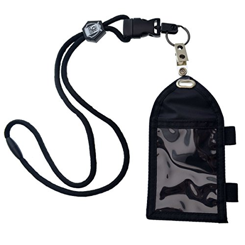 Ultimate Nylon Badge Holder with Pen Loop Key Ring and Heavy Duty Lanyard, by Specialist ID (Black) (Pen Velcro)