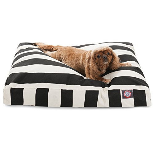 Black Vertical Stripe Medium Rectangle Pet Bed by Majestic Pet