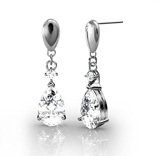 ayful 18k White Gold Plated Teardrop Earrings w/Swarovski Crystals, Tear Drop Dangling Earring Set for Women, Pear Shaped Chandelier Wedding Fashion, Bridesmaids - MSRP $142 (Swarovski Clear Crystal Chandelier Earrings)