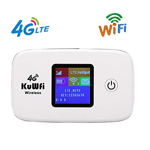 KuWFi 4G LTE Mobile Hotspot Portable WiFi Unlocked Travel Router with SIM Card Slot and TF Card Slot Support B2/B4/B5…