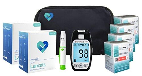 OWell Easy Max NG Diabetes Blood Glucose Testing Kit, METER, 200 Test Strips, 200 Lancets, Lancing Device