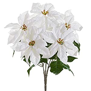 "19"" Velvet Poinsettia Silk Flower Bush -White (Pack of 6) 32"