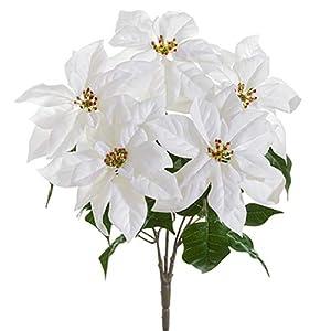 """19"""" Velvet Poinsettia Silk Flower Bush -White (Pack of 6) 76"""