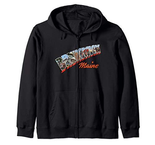 - Brunswick Maine ME Retro Vintage Zip Hoodie