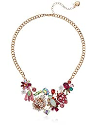 Betsey Johnson (GBG) Women's Mixed Floral Bib Necklace, Multi, One Size