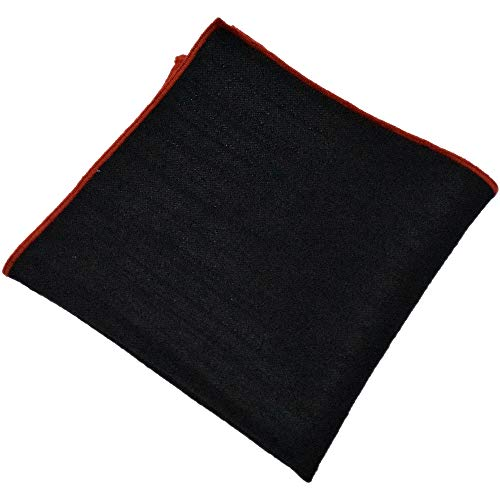 Flairs New York Gentleman's Essentials Weekend Casual Pocket Square Handkerchief (Silky Black/Red) ()