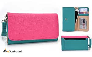 [Metro] HOT PINK / BLUE GREEN | Universal Women's Wallet Wrist-let Clutch for Nokia Lumia 520 Phone Case. Bonus Ekatomi Screen Cleaner