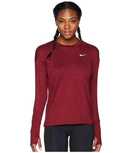 Nike Women's Element Crew Top Burgundy Crush/Red Crush/Heather Large