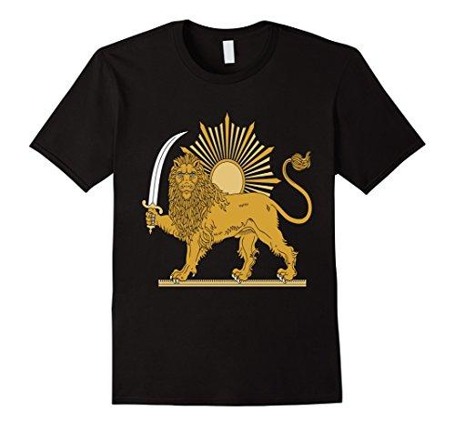 Mens Iran Iranian Symbol Coat Of Arms Emblem Sword Lion T-Shirt Medium Black