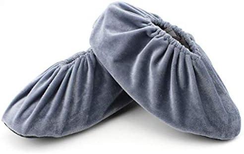 Tivollyff 1ペア/セット女性男性混合色靴カバー滑り止め屋内コットンベルベット靴カバー調節可能な洗えるオーバーシューズカバー