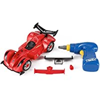Liberty Imports Take Apart Toy Formula Race Car - Build Your Own Racing Vehicle Kit with 24 Pieces Construction Set, Working Power Drill, Lights and Engine Sounds