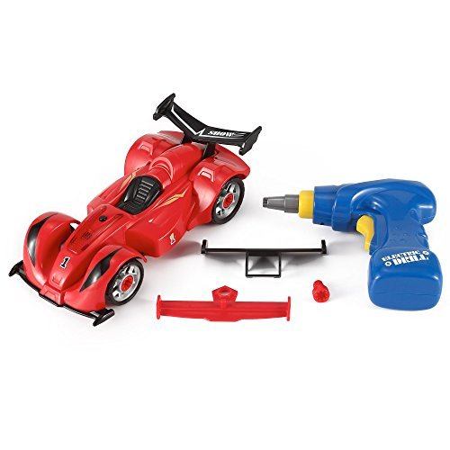 Liberty Imports Formula Racing Car Take-A-Part Toy for Kids with 24 Take Apart Pieces, Tool Drill, Lights and - Parts Cars