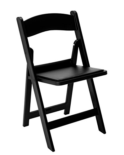 Resin Folding Chair with Vinyl Padded Seat Pack of 4 (Black)