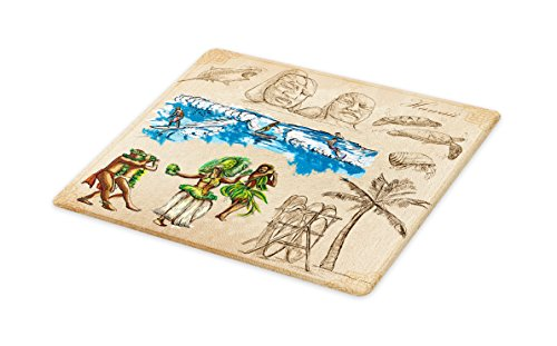 Lunarable Vintage Hawaii Cutting Board, Hand Drawn Tiki Dancers Surfing Sharks Turtles Tropic Inspirations Retro, Decorative Tempered Glass Cutting and Serving Board, Large Size, Tan Blue Green by Lunarable