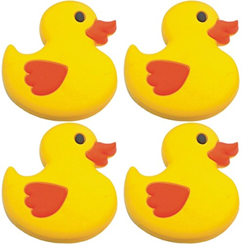 Four (4) of Rubber Ducky Shoe Charms for Wristbands and Shoes