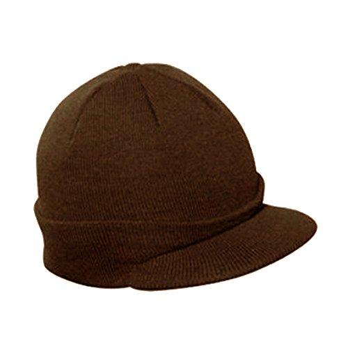 Vintage Year Plain Short Billed Knit Radar With Cuff Beanie (Dark Brown)