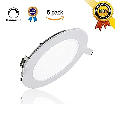 LAIN 5 Pcak LED Panel Light Dimmable Round Ultrathin Ceiling Light Fixtures Recessed Downlight Lamp for Home Kitchen Office Lighting Trim