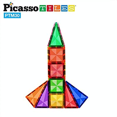 PicassoTiles 30 Piece Magnetic Building Blocks Mini Diamond Series Travel Size On-the-Go Magnet Construction Toy Set STEM Learning Kit Education Playset Child Brain Development Magnets Stacking Blocks: Toys & Games