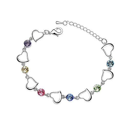 Silver Crystal Diamond Accent Heart Shape Bracelet for women teenage girls, with a Gift Box, Made with SWAROVSKI Crystal, Ideal Gift for Birthdays / Christmas / Wedding--Amethyst, Model: X15341