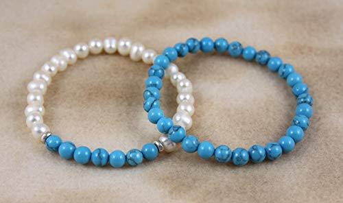 Freshwater Pearl & Turquoise Capricorn December Birthstone Bracelet Set