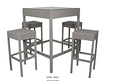 Set bar modello naos tavolo con vetro e sgabelli in ecorattan arredo