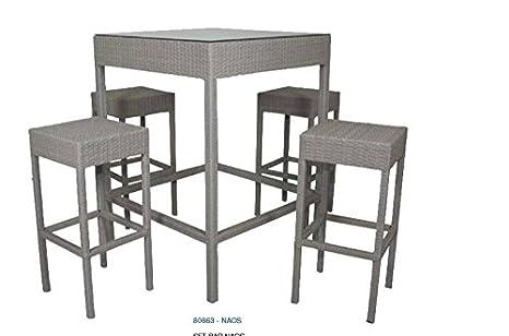 Giardicasa set bar modello naos tavolo con vetro e sgabelli in