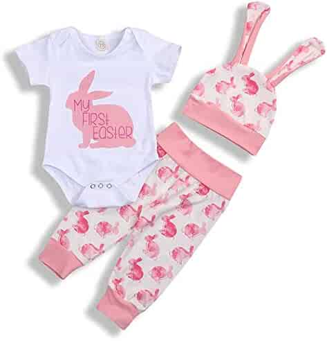 e090cac05 My 1st Easter Newborn Baby Boy Girl Outfits Rabbit Romper Top+Cartoon 3D  Bunny Ears