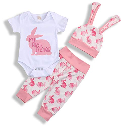 My 1st Easter Newborn Baby Boy Girl Outfits Rabbit Romper Top+Cartoon 3D Bunny Ears Hat+Cute Pant 3Pcs Twins Clothes Set (Pink, 6-9 Months)