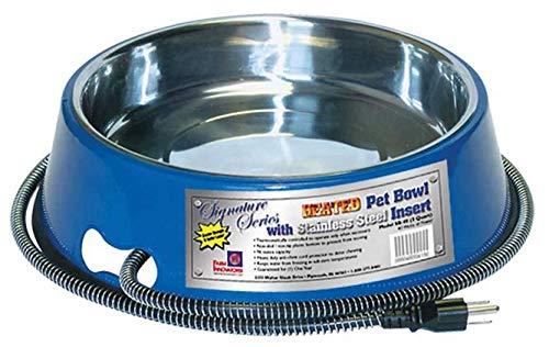 Farm Innovators Model SB-40 3-Quart Heated Pet Bowl with Stainless Steel Bowl Insert, Blue, 40-Watt by Farm Innovators