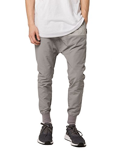 ASPHALT YACHT CLUB Leaf Litter Pieced Jogger Pants, Light Grey, Small