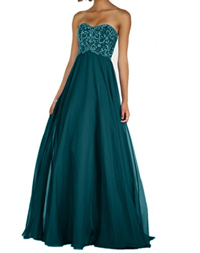 Brau Traegerlos La A Gruen Chifon Langes Elegant Festlichkleider Partykleider Linie mia Formal Tanzenkleider Formalkleider Abendkleider Blau CCOwr5