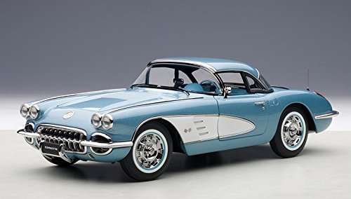 1958 Chevrolet Corvette Silver Blue 1/18 by AutoArt 71146