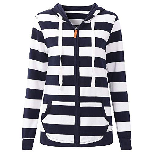 Misaky Women's Hoodie Autumn Winter Long Sleeve Striped Pocket Zipper Casual Sport Coat(Navy, Medium) (Price Velvet Blazer)