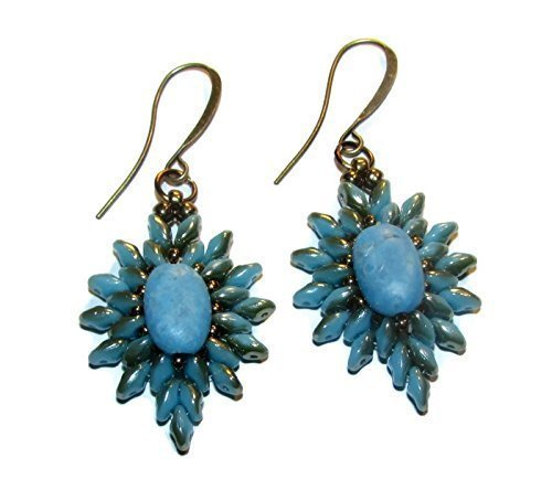 - Turquoise Dyed Howlite Starburst Beaded Earrings Bohemian Chic