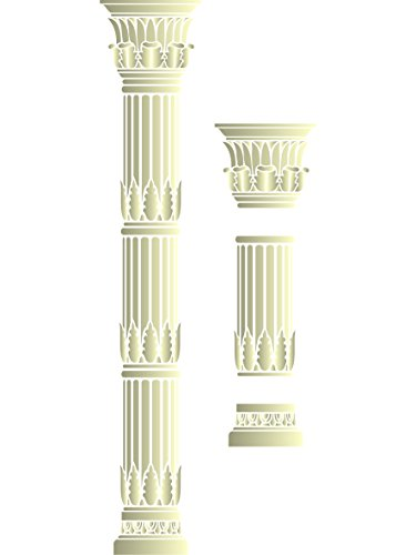 Roman Column Stencil - Bundle - 3 items: Capital + Section + Base - Reusable Wall Stencils - Best Quality Acanthus Architectural Ideas - Use on Walls, Floors, Fabrics, Glass, Wood and More...