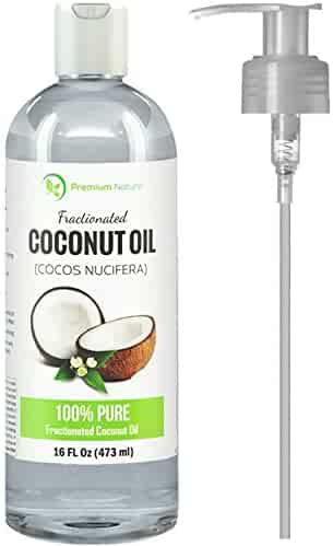 Premium Nature Fractionated Coconut Oil, Skin Moisturizer, Natural Carrier Oil, Therapeutic, Odorless, 16 Oz Clear by Premium Nature