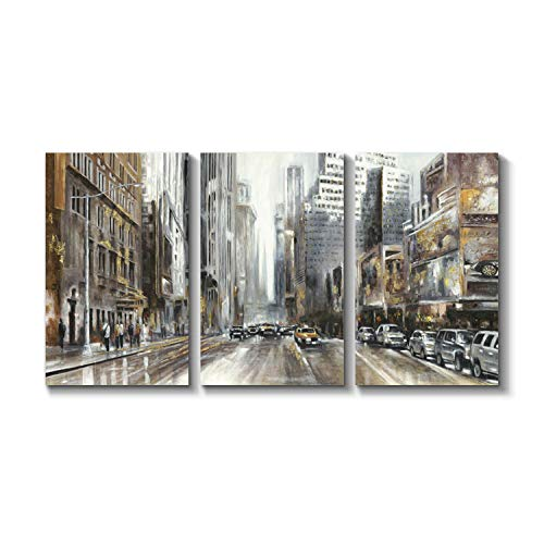 Grander Group Abstract Artwork Street Scenes Picture - New York City Shots Gold Foil Art Print on Canvas