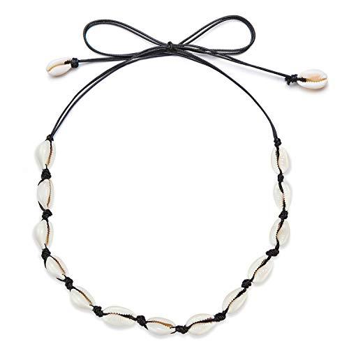 Fesciory Puka Shell Choker Necklace for Women Hawaiian Beach Pearl Cowrie Summer Necklace, Handmade Boho Natural Seashell Jewelry for Girls(Black Shell) ()
