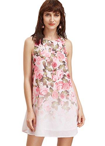 Floerns Women's Loose Floral Tank Dress Summer Sleeveless Dresses X-Small Pink