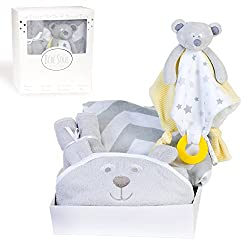 Bébé Soul Unisex New Baby Gift Set : Bear Bamboo Hooded Towel, 4 X Bamboo Washcloths, Bear Security Blanket With Teether, Chevron Muslin Swaddle Blanket - Baby Shower Gifts
