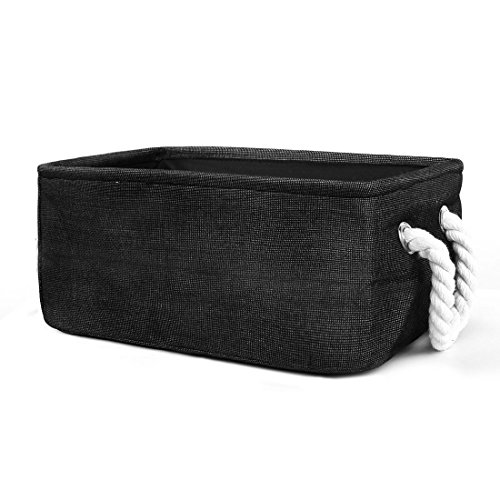 - uxcell Small Storage Basket with Handles, Collapsible Storage Bins for Laundry Clothes Storage, Closet Bin Toy Organizer for Bedroom Office Shelves (Black,S)