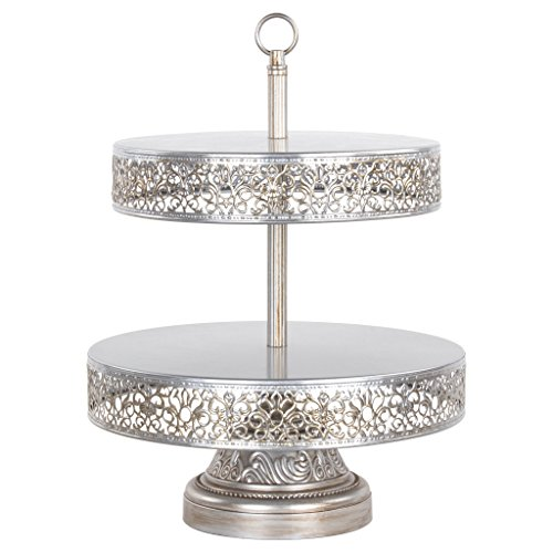 Amalfi Decor 2 Tier Dessert Cupcake Stand, Tower Display for Weddings Events Parties Antique Pedestal, Reversible Plates, Victoria Collection (Silver)