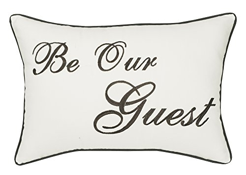 Trivenee Tex Pillowcase Embroidered Be Our Guest Home Bless This Mess Reserved Decorative Throw Pillow Cover Wedding Housewarming Be Our Guest(Ivory), 14X20