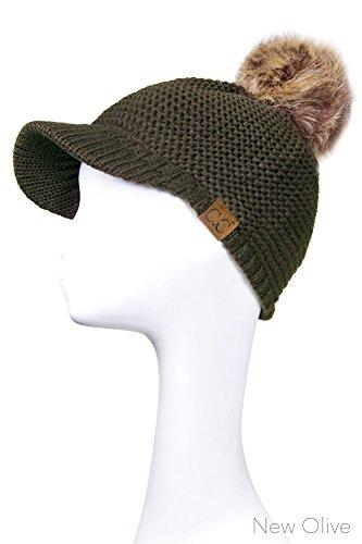 Beanie Visor Olive (ScarvesMe Exclusive CC Knitted Brim Visor With Fur Pom Pom (New Olive))