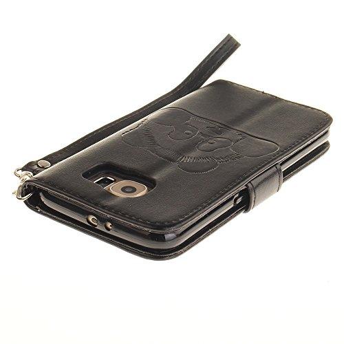 JIALUN-Personality teléfono shell Funda Samsung Galaxy S6, color sólido 3D Panda lindo grabado en relieve cubierta de la caja de cuero de la PU con ranuras para tarjetas Lanyand para Samsung Galaxy S6 6