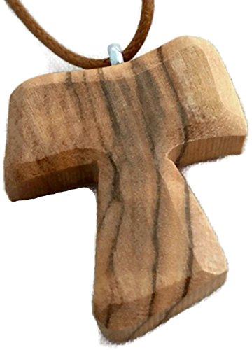 Pendentif en bois d'olivier-Christian Croix Tau Tao Franciscain Design HJW