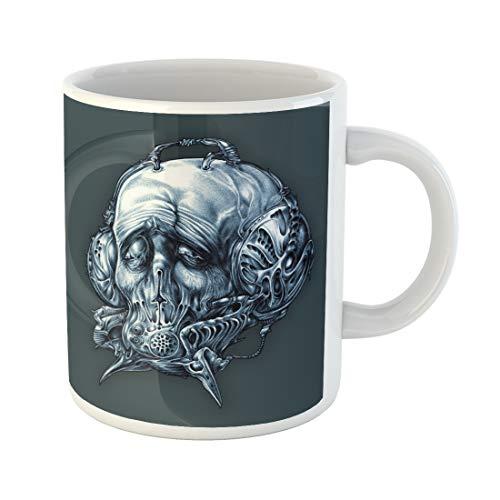 Semtomn Funny Coffee Mug Fantastic Character in Helmet Gas Mask Cyberpunk Steampunk Space Pilot 11 Oz Ceramic Coffee Mugs Tea Cup Best Gift Or Souvenir